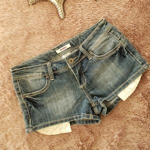 BONGO Brand Jean Shorts with Lace Pockets